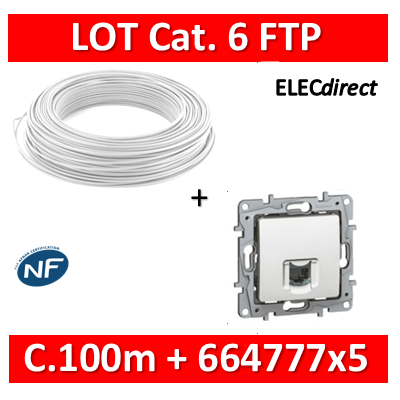 Legrand Niloé - LOT RJ45 cat 6 FTP + Câble C.100m Blanc - 664777x5 + câble cat. 6 FTP