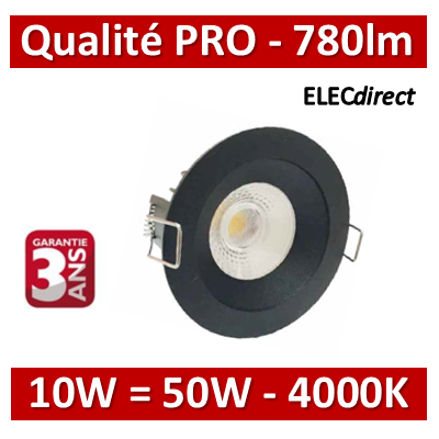 Lited - Spot LED 10W MonoLED  - noir - 4000K - 780lm
