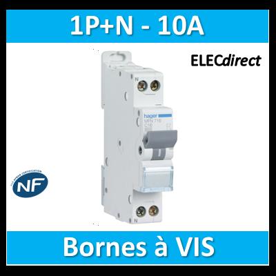 DISJONCTEUR HAGER  - 1P+N - 10A - VIS/VIS - MFN710