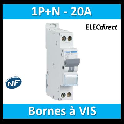 DISJONCTEUR HAGER - 1P+N - 20A - VIS/VIS - MFN720