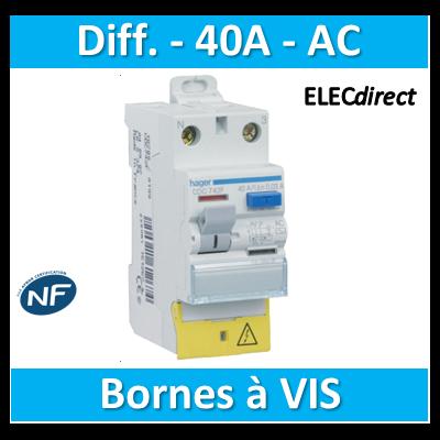 HAGER - Inter différentiel 2P - 40A - 30mA - Type AC - CDC742F