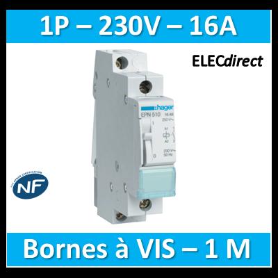 Hager - Télérupteur - Unipolaire 16A - 230V - EPN510