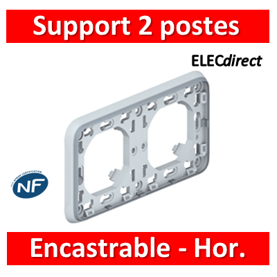 Legrand Plexo - Support gris encastrable pour Plexo composable - Hor. - 2 postes - 069683