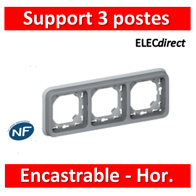 Legrand Plexo - Support gris encastrable pour Plexo composable - Hor. - 3 postes - 069687