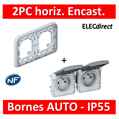 Legrand Plexo - Double PC 2P+T 16A 230V encast. - horizontal - IP55/IK07 - 069683+069562
