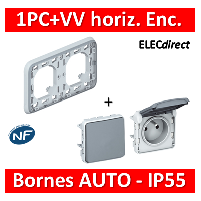 Legrand Plexo - PC 2P+T + VV - Encast. - horizontal - IP55/IK07 - 069683+069551+069511