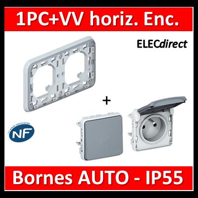 Legrand Plexo - PC 2P+T + VV - Encast. - horizontal - IP55/IK07 - 069683+069551+069511