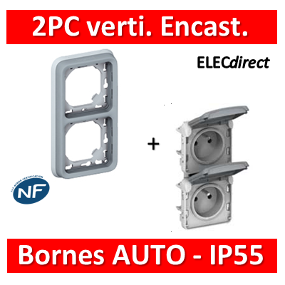 Legrand Plexo - Double PC 2P+T 16A 230V encast. - vertical - IP55/IK07 - 069685+069563