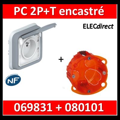 Legrand Plexo - Prise de courant encastré + boîte Batibox - IP55/IK07 - 069831+080101
