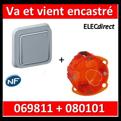 Legrand Plexo - Va-et-Vient encastré + boîte Batibox - IP55/IK07 - 069811+080101