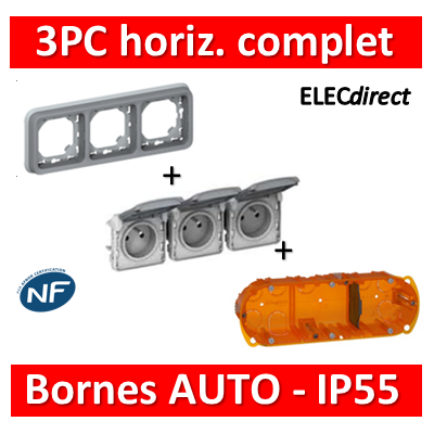 Legrand Plexo - Triple PC - complet - horizontal - IP55/IK07 - 069687+069564+080103
