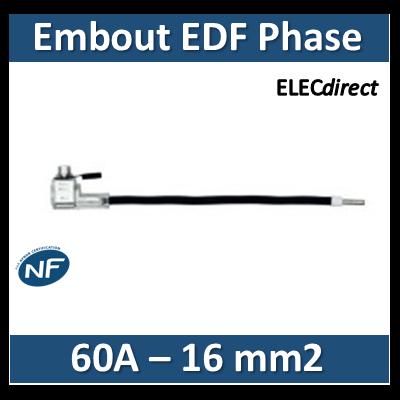Klauke - Embout de raccordement EDF Phase - Noir - 60A - 16mm2