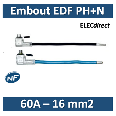 Klauke - Embout de raccordement EDF Phase+Neutre - 60A - 16mm2