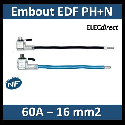 Klauke - Embout de raccordement EDF Phase+Neutre - 60A - 16mm2
