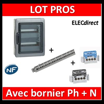 Legrand - Coffret étanche Plexo 24M + Bornier Phase et Neutre 4 Trous - 2 rangées - IP65/IK09