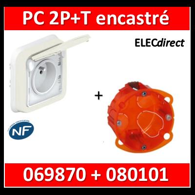 Legrand Plexo - Prise de courant encastré Blanc + boîte Batibox - IP55/IK07 - 069870+080101