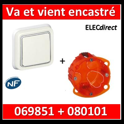 Legrand Plexo - Va-et-Vient encastré Blanc + boîte Batibox - IP55/IK07 - 069851+080101