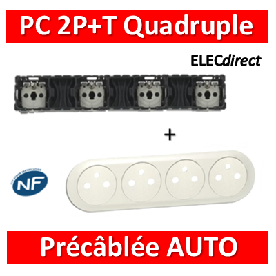Legrand Céliane - Mécanisme + enjoliveur Quadruple PC 2P+T 16A - Précâblée - 067128+068114