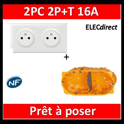 Legrand Céliane - Prêt à poser - 2 Prises 2P+T affleurante complet + boîte batibox 2 postes