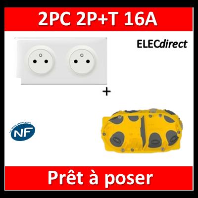 Legrand Céliane - Prêt à poser - 2 Prises 2P+T affleurante complet + boîte batibox 2 postes BBC