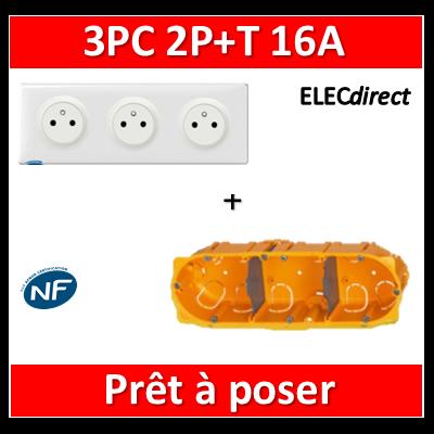 Legrand Céliane - Prêt à poser - 3 Prises 2P+T affleurante complet + boîte batibox 3 postes