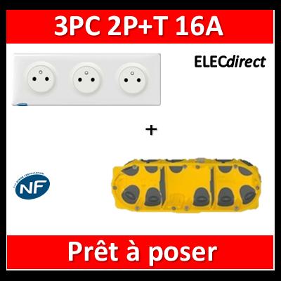 Legrand Céliane - Prêt à poser - 3 Prises 2P+T affleurante complet + boîte batibox 3 postes BBC