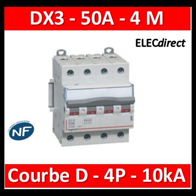 Legrand - Disjoncteur 4P DX3 50A - 10kA - courbe D - 408122