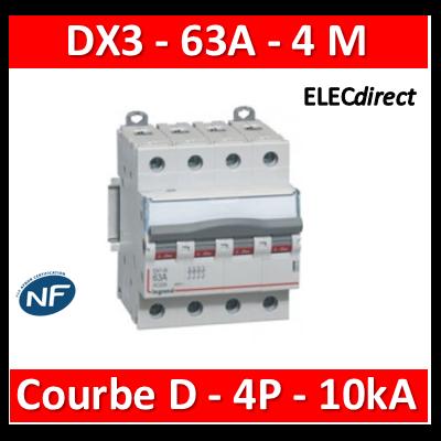 Legrand - Disjoncteur 4P DX3 63A - 10kA - courbe D - 408123
