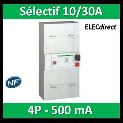 Schneider - Disjoncteur de branchement EDF 10/30A Sélectif - 500mA - tétrapolaire - 13123