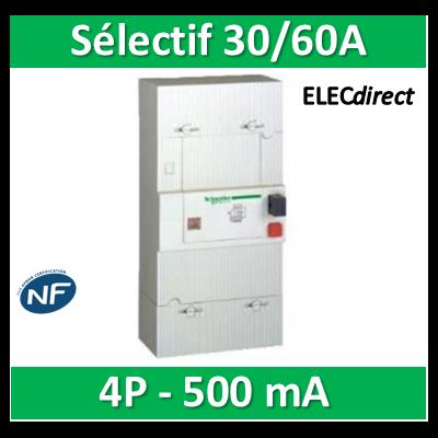 Schneider - Disjoncteur de branchement EDF 30/60A Sélectif - 500mA - tétrapolaire - 13124