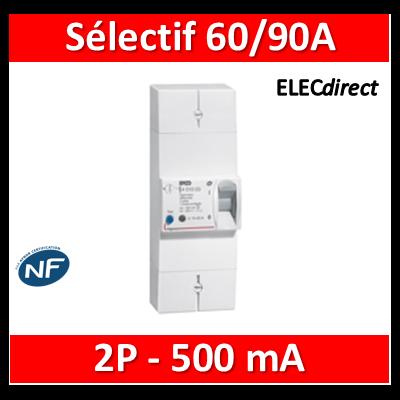 Legrand - Disjoncteur de branchement EDF 60/90A sélectif - 500mA - bipolaire - 401005
