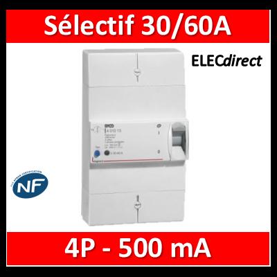 Legrand - Disjoncteur de branchement ERDF - 4P 30/60A 500 MA Sélectif - 401013