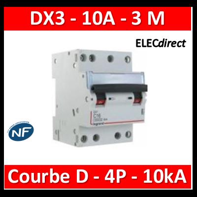 Legrand - Disjoncteur 4P DX3 10A - 10kA - courbe D - 408125
