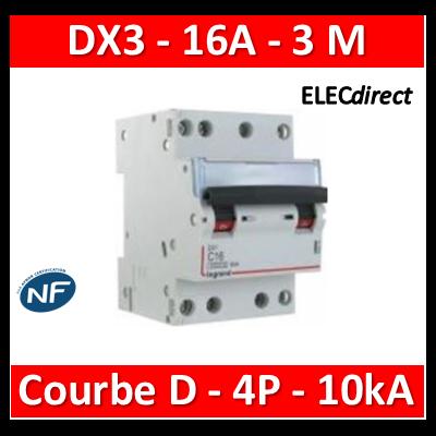 Legrand - Disjoncteur 4P DX3 16A - 10kA - courbe D - 408126