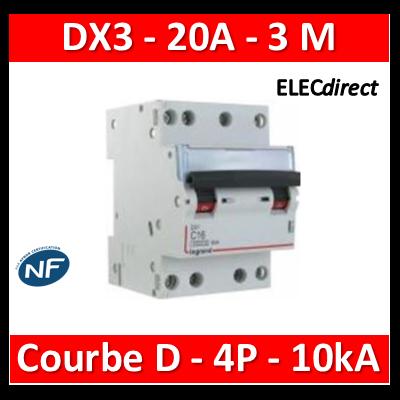 Legrand - Disjoncteur 4P DX3 20A - 10kA - courbe D - 408127