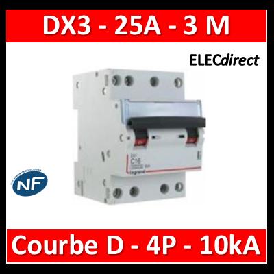 Legrand - Disjoncteur 4P DX3 25A - 10kA - courbe D - 408128