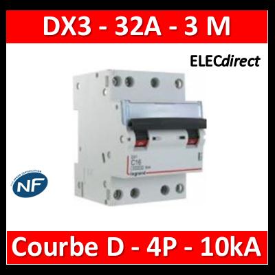 Legrand - Disjoncteur 4P DX3 32A - 10kA - courbe D - 408129