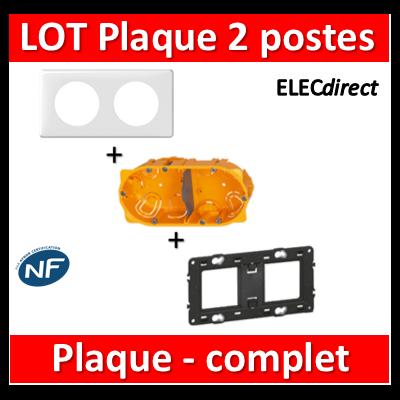 Legrand Céliane - LOT - Plaque 2 postes - hori./Vert - 066632+080252+080042