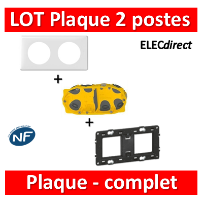 Legrand Céliane - LOT - Plaque 2 postes - hori./Vert BBC - 066632+080252+080022