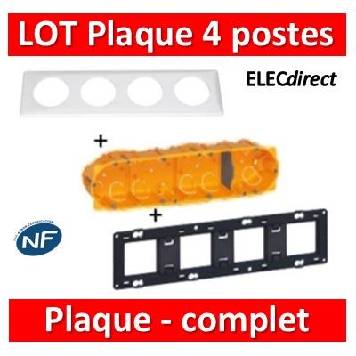 Legrand Céliane - LOT - Plaque 4 postes - hori./Vert - 066634+080254+080044