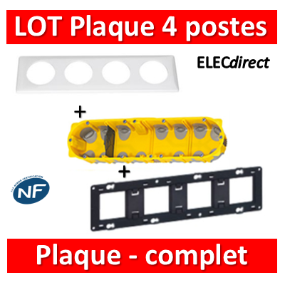 Legrand Céliane - LOT - Plaque 4 postes - hori./Vert BBC - 066634+080254+080024