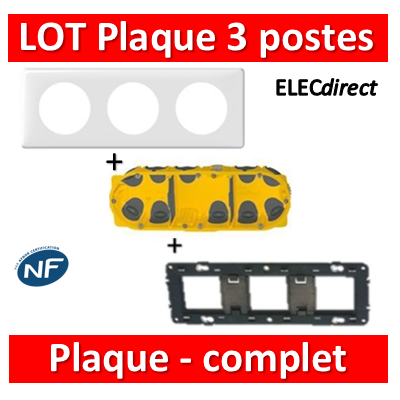 Legrand Céliane - LOT - Plaque 3 postes - hori./Vert BBC - 066633+080253+080023