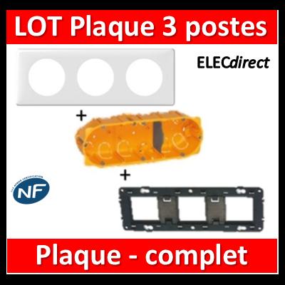 Legrand Céliane - LOT - Plaque 3 postes - hori./Vert - 066633+080253+080043