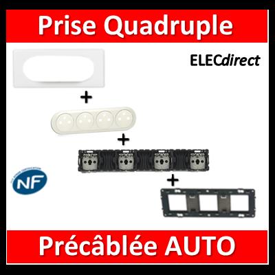 Legrand Céliane - Prise Quadruple PC 2P+T 16A - Précâblée - complet