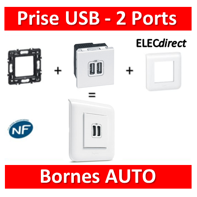 Legrand Mosaic - Prise USB - 2 ports - complet - 080251+078802+077594
