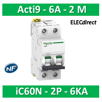 Schneider - Disjoncteur bipolaire Acti9 - iC60N -2P- 6A - 6kA - courbe C - A9F77206