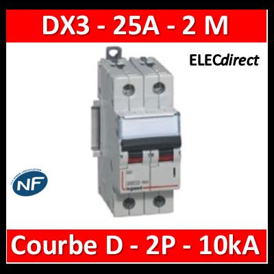 Legrand - Disjoncteur bipolaire DX3 25A - 10kA - courbe D - 408017