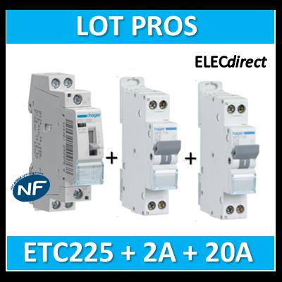 Hager - LOT PROS - Contacteur J/N + disjoncteur 2A + disjoncteur 20A - ETC225S+MFN702+MFN720