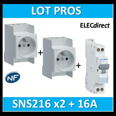 Hager - LOT PROS - Prise modulaire 2P+T 16A + disjoncteur 16A - SNS216x2 + MFN716