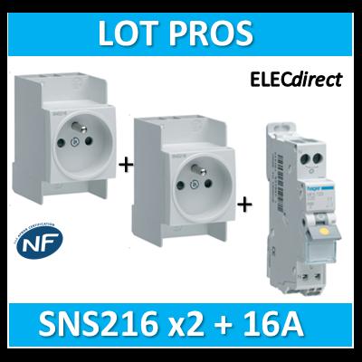 Hager - LOT PROS - Prise modulaire 2P+T 16A + disjoncteur 16A AUTO - SNS216x2 + MFS716
